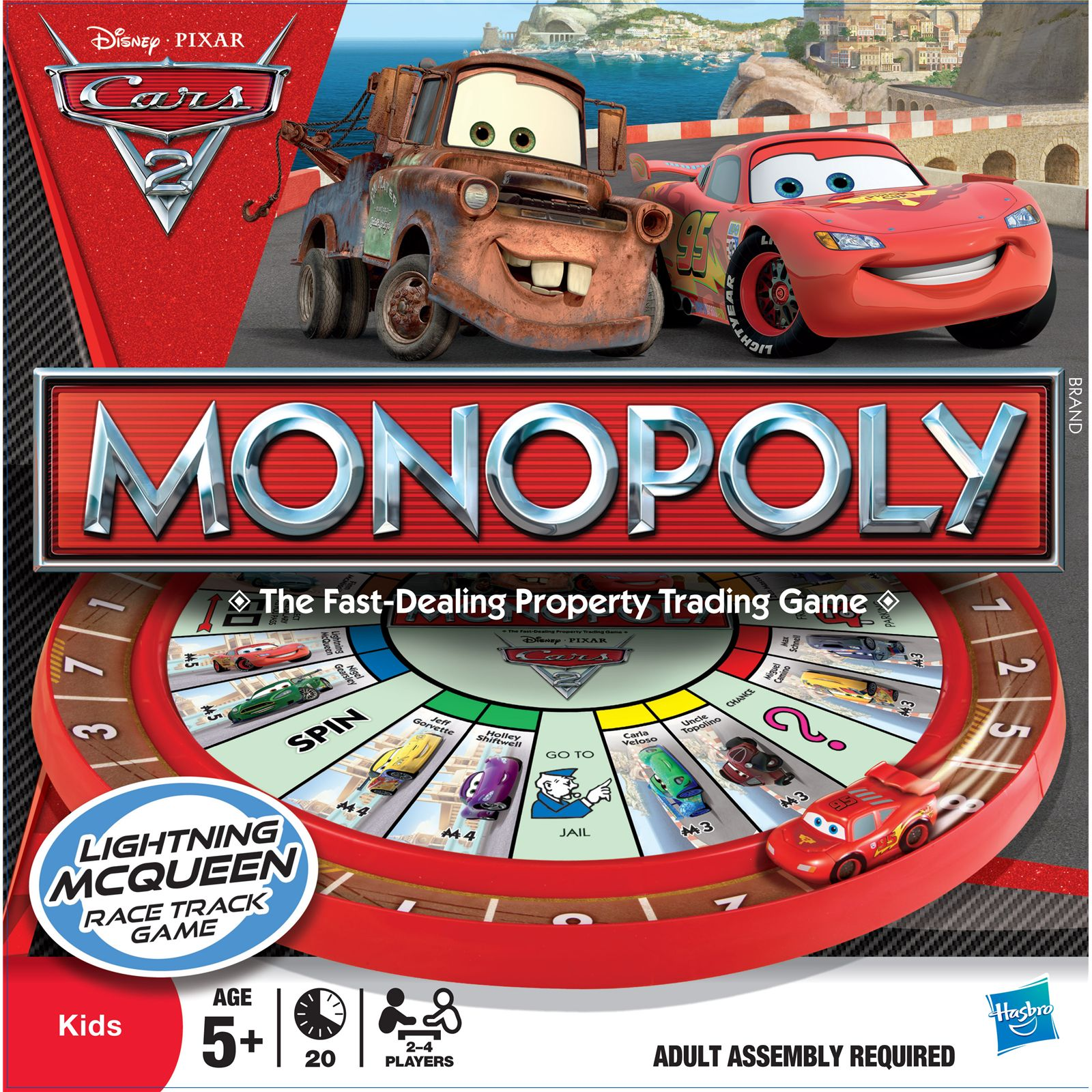 Monopoly Cars 2 Race Track Lightning Mcqueen Board