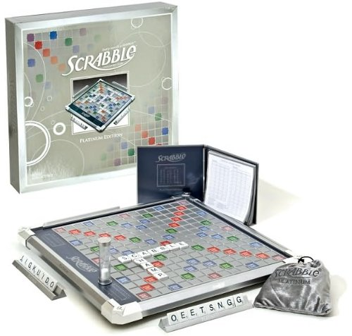 Scrabble Platinum Edition Board Game with Rotating Board