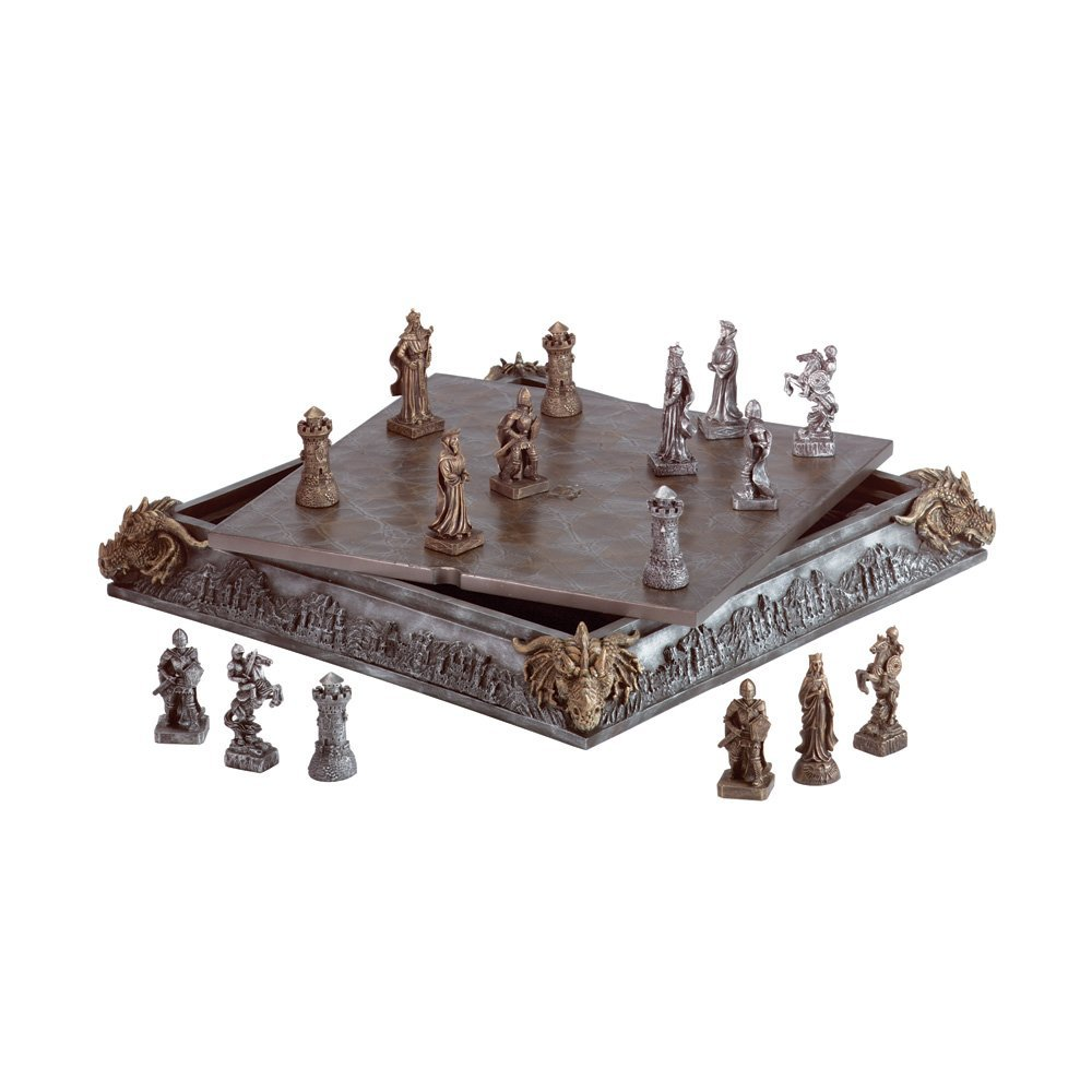 Medieval knight dragon battle carved chess game set board games messiah - Medieval times chess set ...