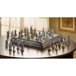 Medieval Knight Dragon Battle Carved Chess Game Set