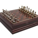 Metal Chess Set With Deluxe Wood Board and Storage – 2.5″ King