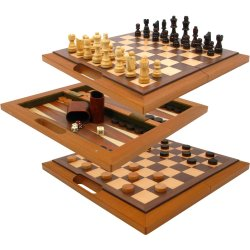Deluxe Wooden Chess, Checkers and Backgammon Set – Brown