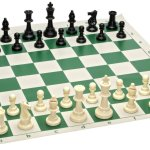 Tournament Chess Set – 90% Plastic Filled Chess Pieces and Green Roll-up Vinyl Chess Board